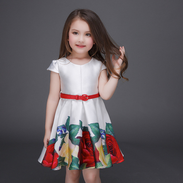 25f55464f5d50 US $7.08 31% OFF|Girls Summer shorts Clothing Set Children Summer Casual  Sets 2017 Fashion Flower dress+ belt Kids two pcs clothing Set-in Clothing  ...