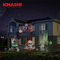 Kmashi Holloween Christmas LED Projector Light 16 Pattern Lens Replaceable Lawn Projection Lamp Night Light Landscape
