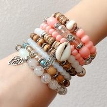Guvivi Stone Beads Wrap Bracelets For Women Charm Shell & Bangles Set Boho Summer Jewelry pulseras mujer moda Bijoux