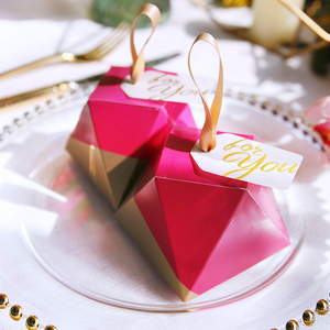 Image 3 - New Rose Red Diamond Shape Candy Box Wedding Favors and Gifts Box Party Supplies Paper Gift Chocolate Boxes Packages