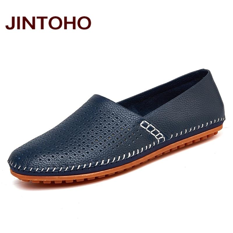 JINTOHO 2017 Leather & Suede Men Loafers Genuine Leather Brand Men Shoes Luxury Slip On Footwear Male Leather Shoes Men Flats kryte sandały na platformie