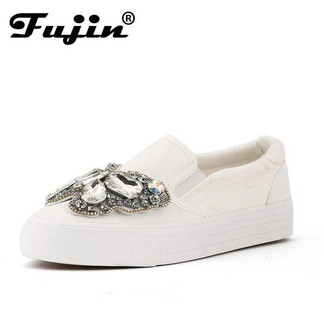 b7fd3dfb23 US $33.54 40% OFF|2019 Platform Rhinestone Espadrilles Shoes fashion Shoes  Luxury Brand slip on Women crystal Shoes bow wedding shoes platform-in ...