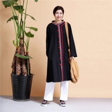 Cotton dress Chinese folk style embroidered jacket windbreaker long retro clothing tea ceremony unnan national costumes
