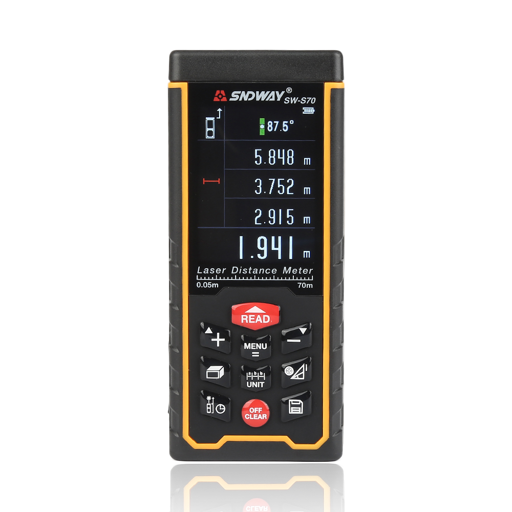 SNDWAY Color Display Rechargeable  SW-S70 Digital laser distance Meter trena laser Tape measure Diastimeter tester tool 70M high quality precision skin analyzer digital lcd display facial body skin moisture oil tester meter analysis face care tool