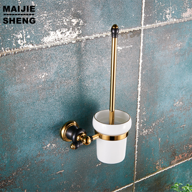 все цены на Luxury golden plated finish toilet brush holder with Ceramic cup/ household products toilet brush kit bathroom accessories онлайн