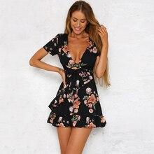 2019 Women Summer Bohemian Flower Print Dress Women Elegant V Neck Casual Short Sleeve Irregular Hem Ruffles Belt Beach Dresses цены
