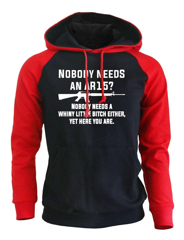 New Fashion Sweatshirts For Men 2017 Autumn Winter Hoodie Print Letter NOBODY NEEDS AN AR15 Harajuku Men's Raglan Hoody Pullover