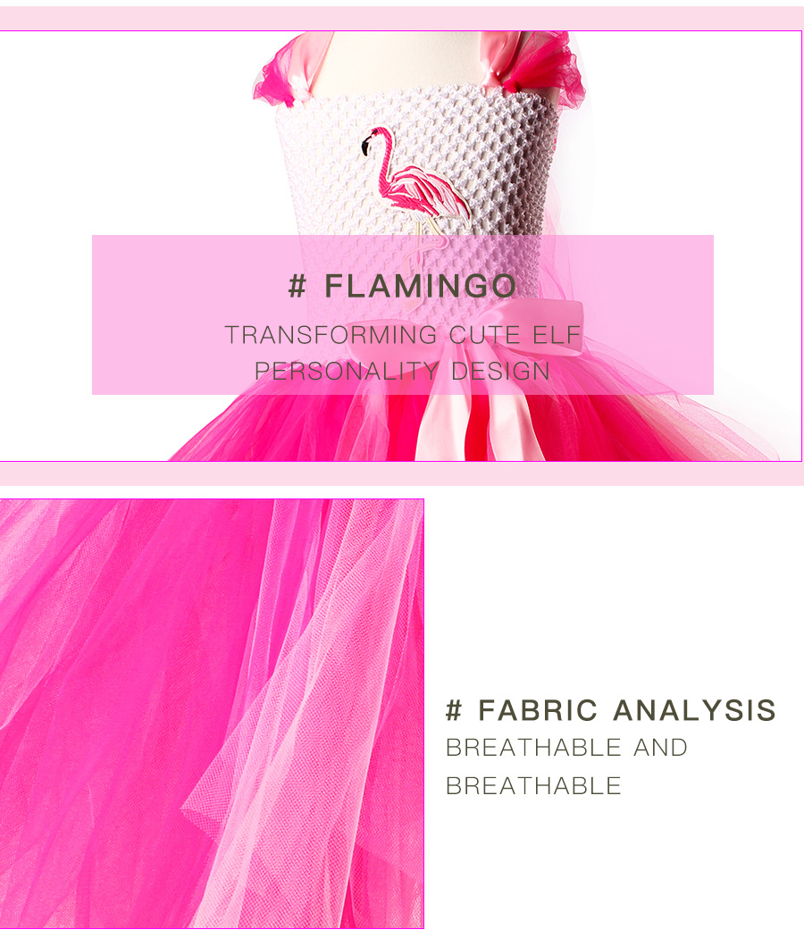 Girls Flamingo Princess Dress Pink Flower Tulle Clothes Kids Birthday Party Dresses 2018 Brand Animal Costume Flamingo Vestidos (4)