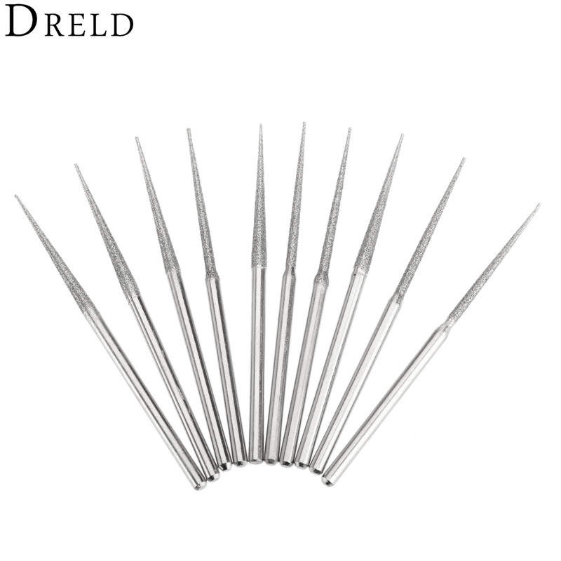10Pcs Dremel Accesories Mini Drill Diamond Grinding Head 3mm Shank Bur Bit Set Grinding Tool For Rotary Tool Trigonometric Tip
