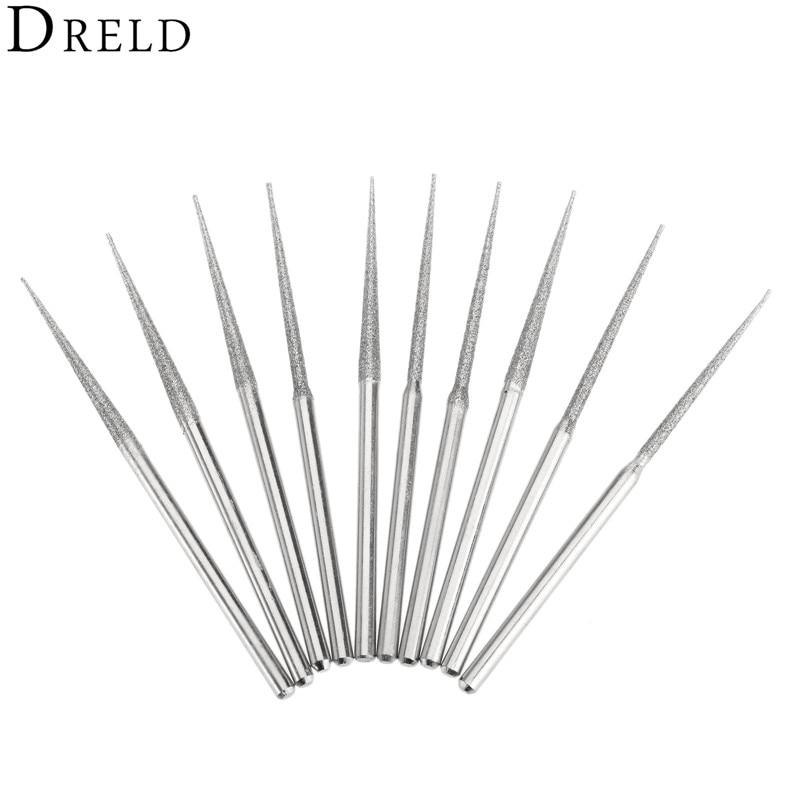 10Pcs Dremel Accesories Mini Drill Diamond Grinding Head 3mm Shank Bur Bit Set Grinding Tool For Rotary Tool Trigonometric Tip