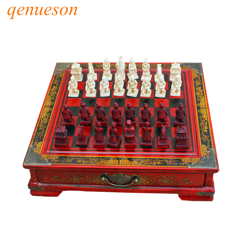 Vintage Collection Chess Chinese Terracotta Warriors Chess Wood Carving Resin Chessman Christmas Birthday Premium Gifts qenueson набор для специй terracotta дерево жизни
