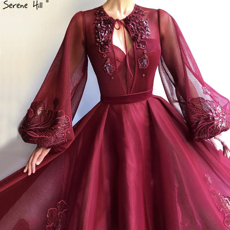 Wine Red Long Sleeve Sexy Evening Dresses 2019 Handmade Flowers Sequined Tulle Long Evening Gowns Serene Hill BLA60810
