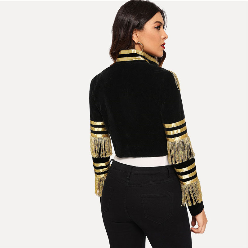 SHEIN Lady Fringe Patched Metallic Double Breasted Stripe Black Gothic Jacket Women Autumn Stand Collar Cropped Jacket 6