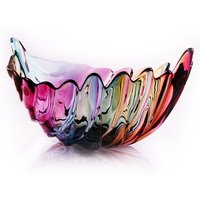 Exquisite And Colorful Glass And Fruit Plate Unique Goose Feather Shape Storage Tray