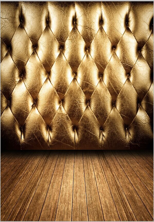 5x10ft Vintage Gold Tufted Leather Wall Retro Headboard