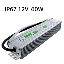 IP67 DC12V 60W Waterproof LED Power Supply AC100-260V To DC 12V Output LED Driver Switch Transformer Outdoor Lighting Equipment