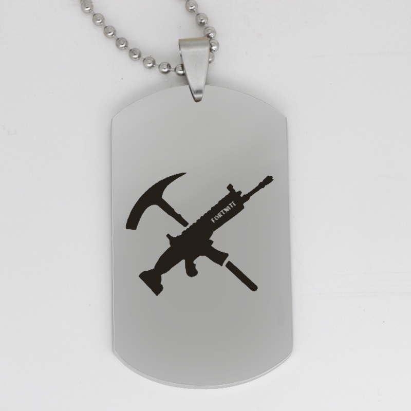 FPS Game gun pick pendant Fortnite pendant stainless steel jewelry necklace Customed words or name necklace N449