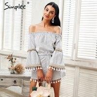 Simplee National Boho Stripe Tassel Jumpsuit Romper Women Sexy Off Shoulder Overalls Summer Beach Flare Sleeve