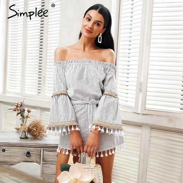 5cfeb385b242 Simplee National boho stripe tassel jumpsuit romper Women sexy off shoulder  overalls Summer beach flare sleeve