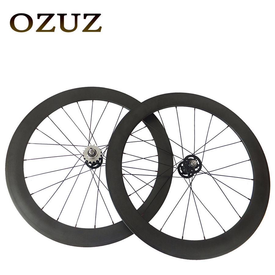 Track Fixed Gear Front 38mm Rear 50mm Depth Clincher Single font b Speed b font Carbon