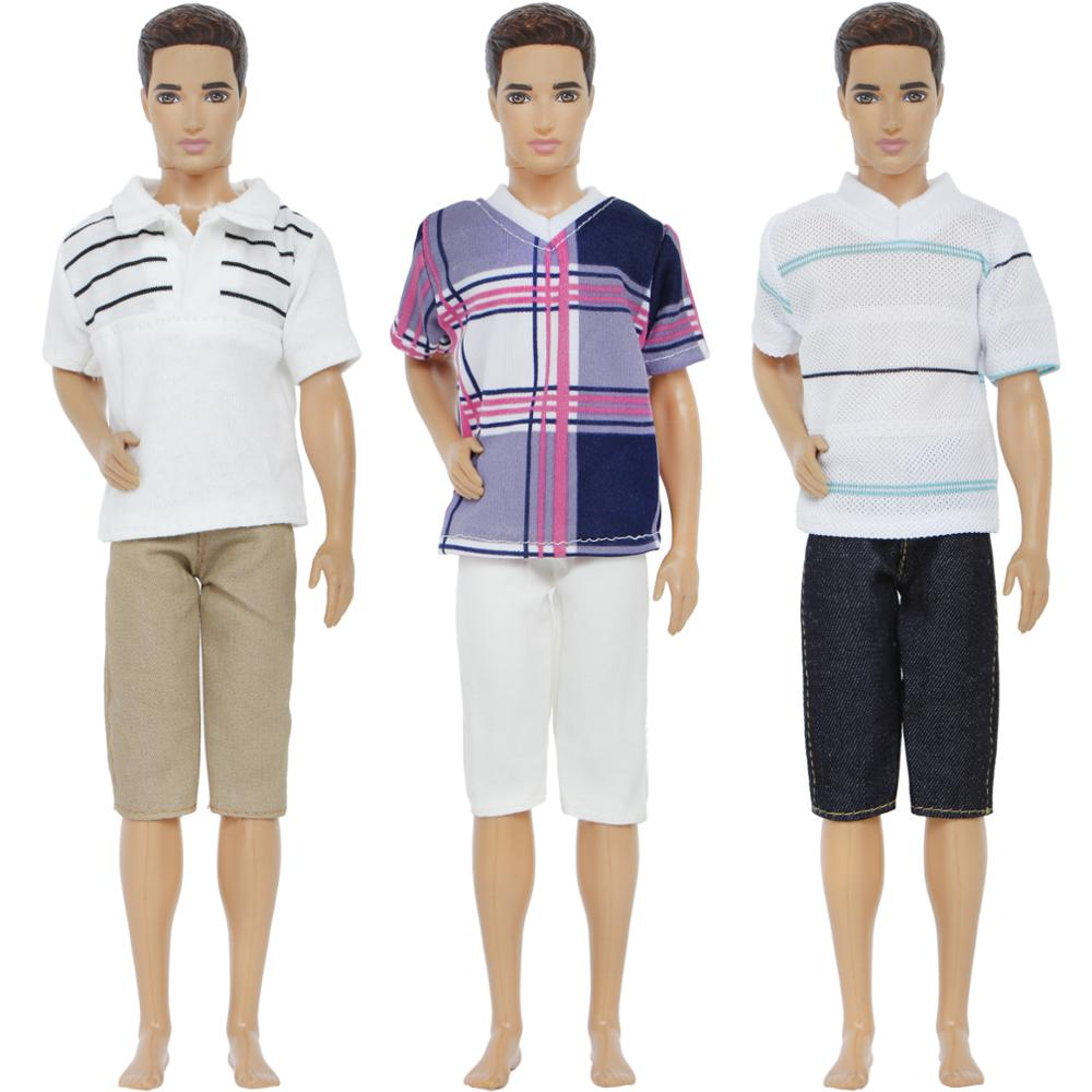 Handmade 3 Sets/Lot Outfits Mixed Style Stripe Plaid Shirt Tops Trousers Boys Clothes For Barbie Ken Doll Accessories Gifts Toy pure manual doll accessories knitted handmade sweater tops coat dress clothes for barbie doll gifts for girls kids toy