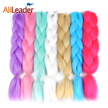 AliLeader Crochet Braid Hair Ombre Kanekalon Braiding Hair, 24 Inch 100G Pure Color Jumbo Braids Synthetic Hair For Braid