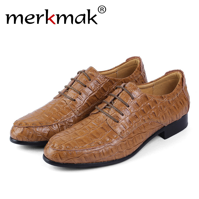Merkmak Men Casual Formal Shoes Fashion Comfortable Genuine Leather Pointe Top Autumn Winter Footwear Man Flats Big Size 36-50