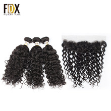 FDX brazilian water wave bundles with frontal human hair with frontal remy 13x4 lace frontal closure(China)