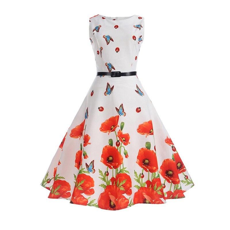 6cc5799e5e2b Sisjuly Women Butterfly Red Flower Print White Summer Girls Party Office  Tank Dress Black Belt Zipper