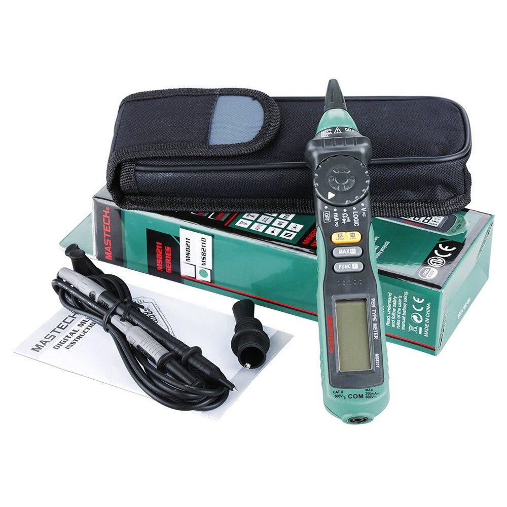 MasTech MS8211D Pen tipo multímetro digital Auto Gama DMM Multímetro Testador De Tensão Atual Tester Nível de Lógica