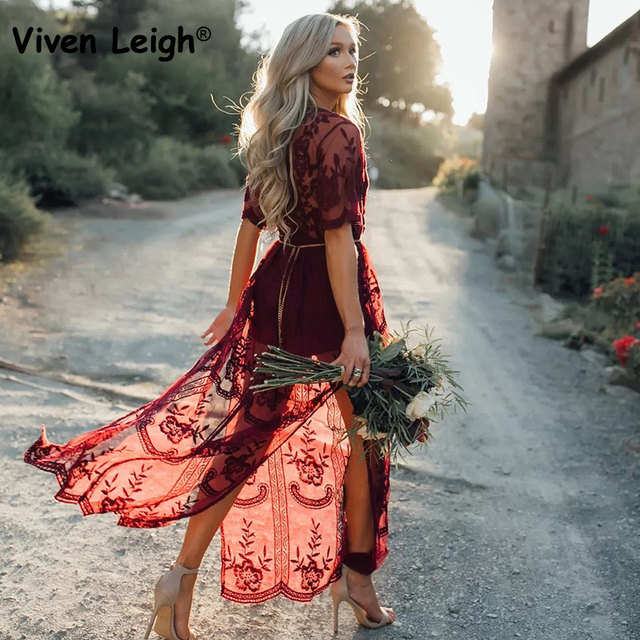 Viven Leigh Sexy Wine Red Deep V Short Sleeve Perspective Mesh Yarn Flowers Women Lace Dress Women Elegant Maxi Long Dress