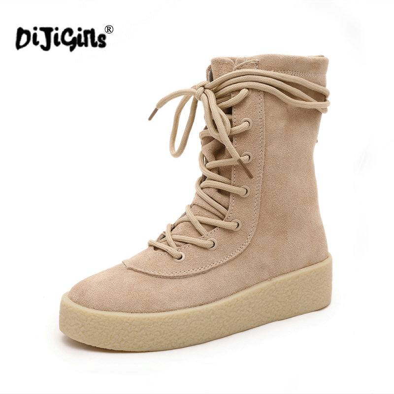 84bc0cb85 DIJIGIRLS Luxury Designer Brand Cheasle Boots Kanye West Military Crepe  Boots Suede Leather Owen Shoes Riding Boot Women