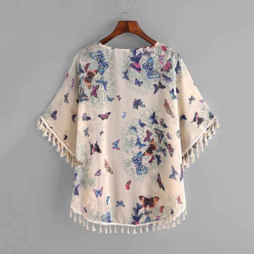 Новинка 2018 года; сезон весна-осень; хлопковое кимоно с кисточками и бабочками для маленьких девочек; открытый кардиган; куртка Детская Повседневная Свободная куртка пальто для девочек