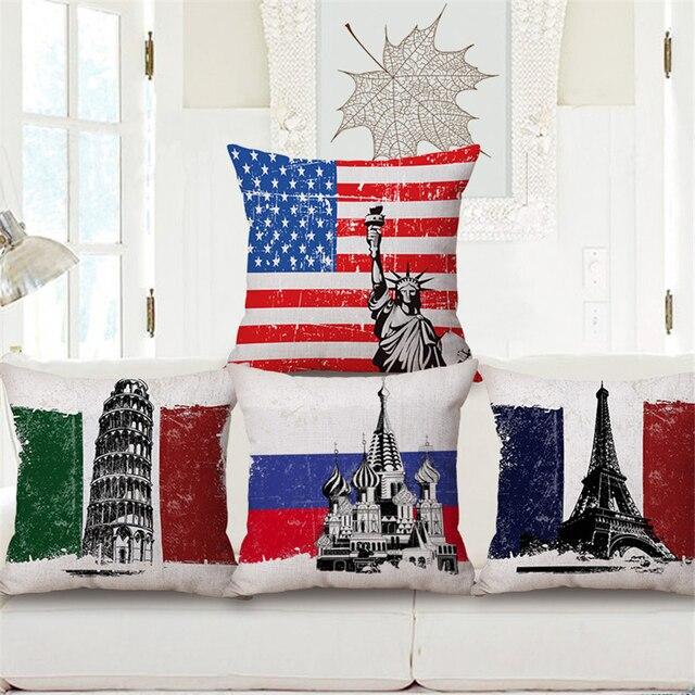 Nordic Paris London American Flag Scenic Decorative Office Chair ...
