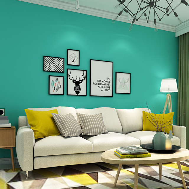 Modern Solid Color Blue Wall Papers Home Decor Bedroom Living Room