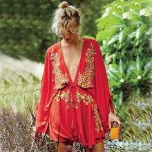 Vestidos Women 2019 Summer V neck Bating Sleeve Pineapple Pattern Embroidery Mini Dress Casual Hippie Boho People Female Dresses
