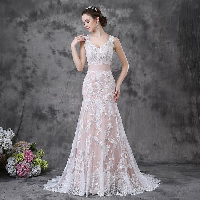 Vestidos de Novias Romantic Pink Wedding Gowns V neck Appliqued Soft ...