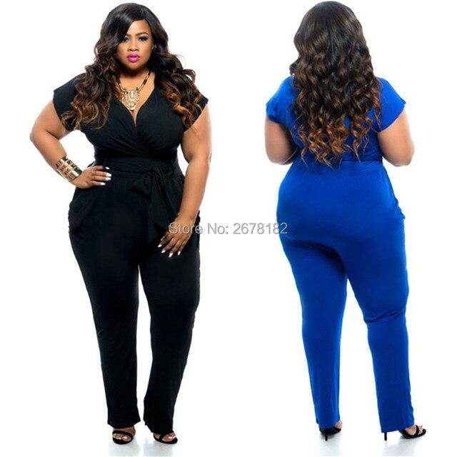 Plus Size Sexy V Neck Jumpsuit 2018 Short Sleeve Black Blue Long