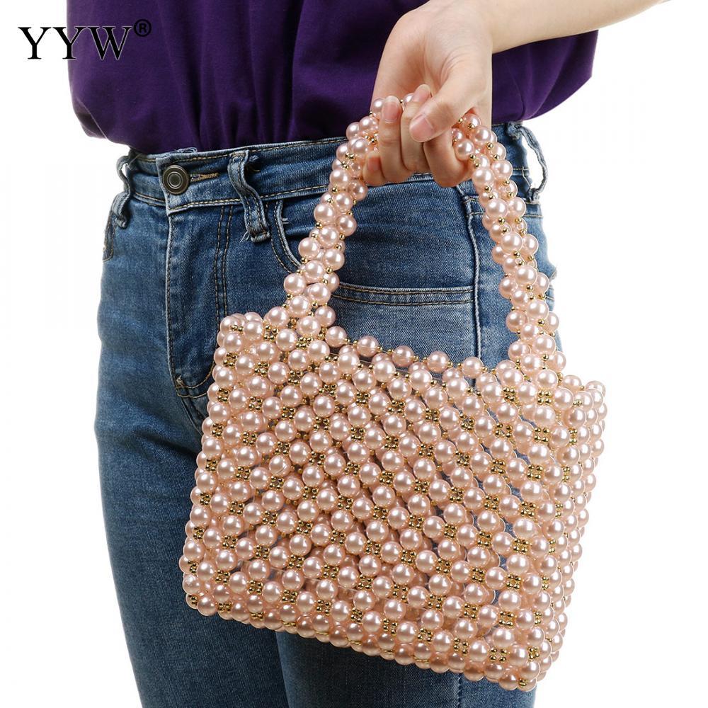Perles sac perlé boîte fourre-tout sac femmes partie de luxe à la main sac à main 2019 été en plastique perle haut blanc poignée main bracelets