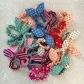 10 pçs/saco Lotes Bonito Menina Doce Polka Dot faixas de Cabelo Elásticos Rabo de Cavalo Titular Acessórios Orelhas de Coelho Headwear Rubber Band TS008