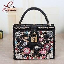 Design de moda de luxo de alta qualidade diamante cor camurça PU caixa do fechamento da bolsa das mulheres bolsa de ombro flap messenger bag 4 cores
