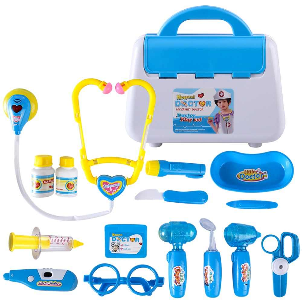 55d9c39cf 15Pcs Pretend Play Emulational Toy Kit Doctor Echometer Set with Sound  Light Education Toys for Children