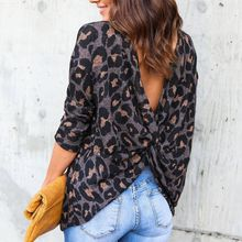 hot deal buy women autumn leopard print blouses shirts sexy deep v-neck backless long sleeve blouses cotton tops female 2018 new arrival