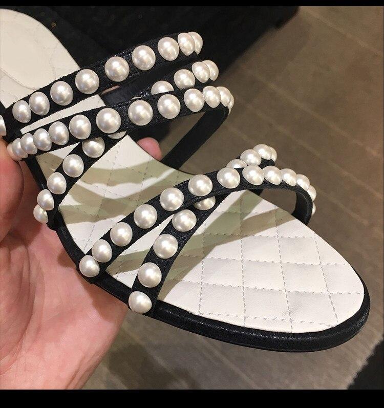 flat Talon Perles Talons Étroite Femmes Ficelle 4 D'été Chaussures Attaché Croix Perle Peep Chunky Sandales Cool Toe Mode 5cm Supérieure Bande Hauts Blanc De À ISwPxqwUf