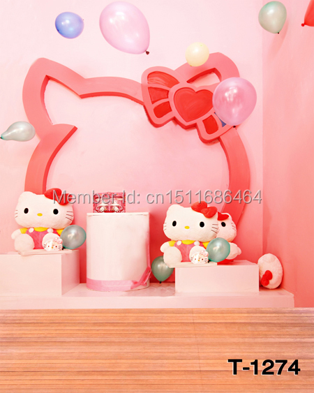 5x7ft Photography Backdrops Photo Studio Computer Painted baby background pink hello kitty cat backdrops T-1274 - JOYL backgrounds Co.,Ltd store