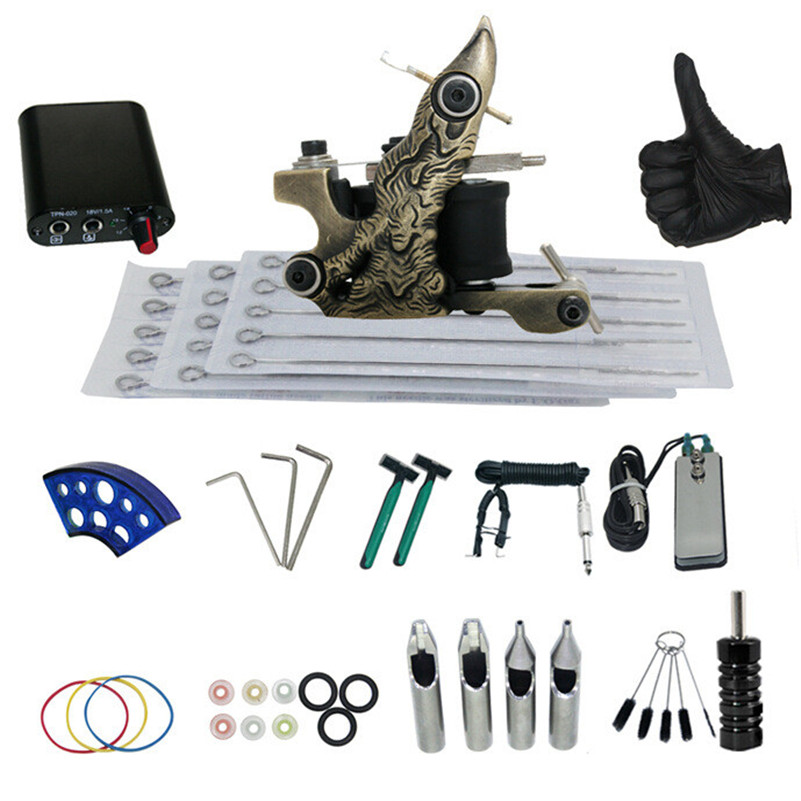 Complete Tattoo Kit 1 Pro Machine Guns Power Supply Foot Pedal Needles Grips Tips Tattoo Machine Set Accessories For Beginners solong tattoo complete tattoo kit 2 pro machine guns 54 inks power supply foot pedal needles grips tips tk244