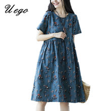 Uego 2021 New Arrival Loose Summer Dress Cotton Linen Fashion Printing Floral Vintage Dress Plus Size Women Casual Midi Dress