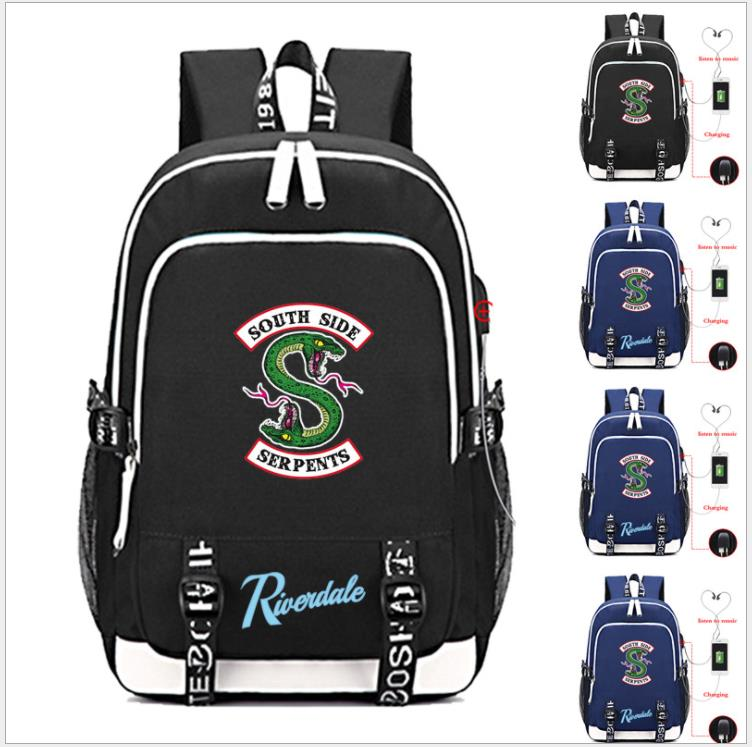 Riverdale South Side Serpents RHS Backpack School Bag w/ USB Fashion Port/Lock /Headphone Travel School Students Bag