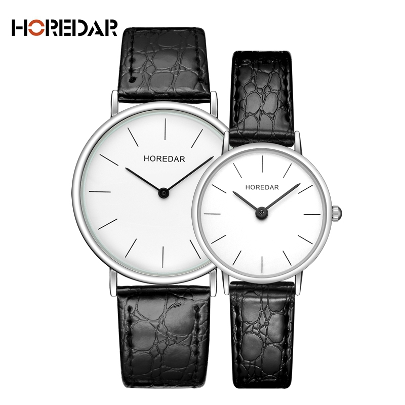 HOREDAR Quartz Watch Lovers Watches Women Men Couple Dress Watches Simple Leather Wristwatches Fashion Casual Clock