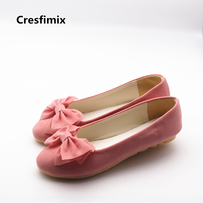 Cresfimix women cute bow tie spring & summer slip on pink flat shoes lady casual street shoes female comfortable shoes zapatos casual shoes women office ladies shoes lady cute bow tie pointed toe flats female cute spring